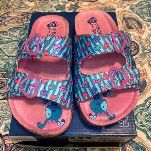 Sketchers girl sandals size 11 pink and blue.